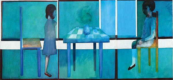 - CHARLES BLACKMAN , Australian B. 1928 TRIPTYCH Oil on canvas