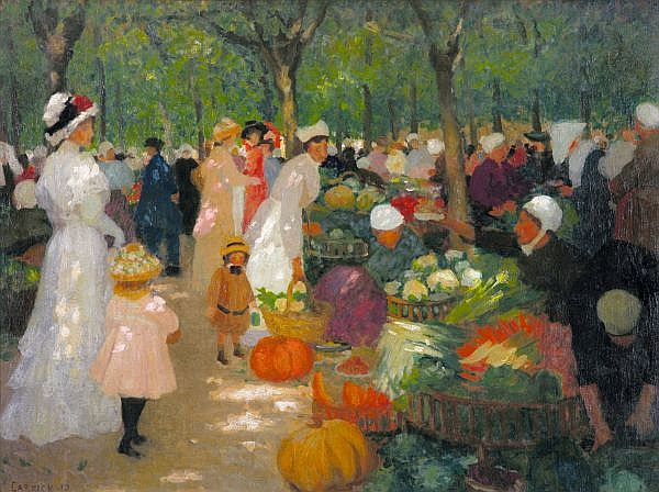 ETHEL CARRICK FOX , Australian 1872 - 1952 MARKET, UNDER TREES Oil on canvas