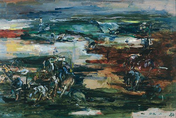 - JOHN PASSMORE , Australian 1904-1984 THE BATHERS Oil on composition board