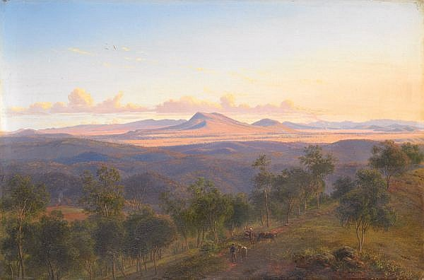 EUGENE VON GUERARD , Australian 1811-1901 A VIEW FROM DAYLESFORD TOWARDS THE PYRENEES Oil on canvas