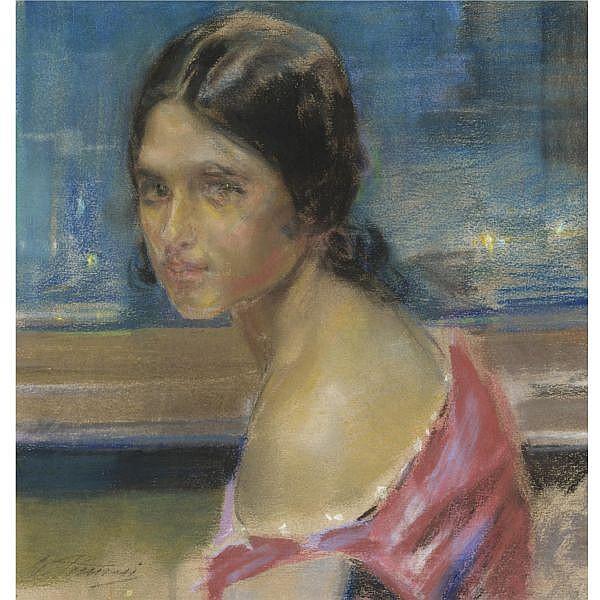 - Gino Piccioni , (Foligno 1873 - Biella 1941)   volto di fanciulla pastello e carboncino su carta, incorniciato