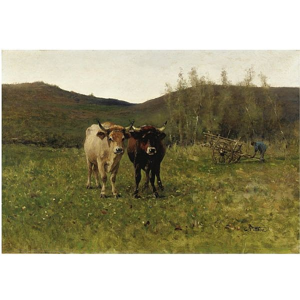 Carlo Pittara , (Torino 1835 - Rivara Canavese 1891) scena agreste olio su tela