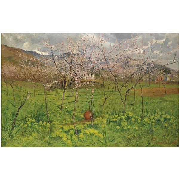 Carlo Pollonera , (Alessandria d'Egitto 1849 - Torino 1923)   Primavera in Liguria olio su tela