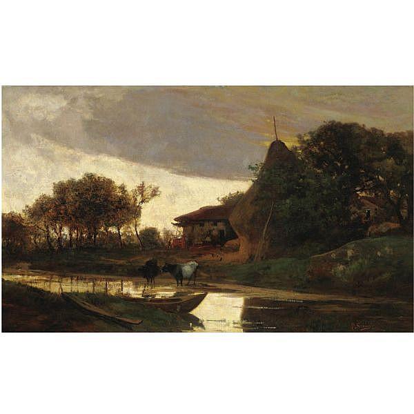 Pietro Senno , (Portoferraio 1831 - Pisa 1904)   Paesaggio sul fiume olio su tela