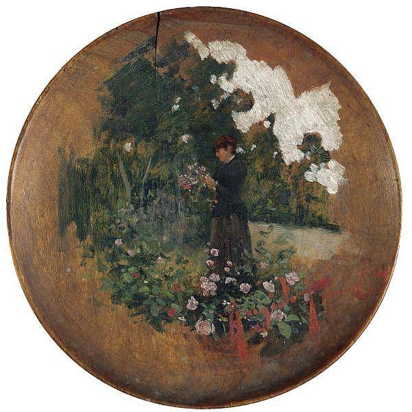 Angiolo Tommasi , (Livorno 1858 - Torre del Lago 1923)   passeggiata in giardino olio su tavola, un piatto