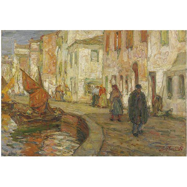- Eugenio Bonivento , (Chioggia 1880 - Milano 1956) canale veneziano olio su tela