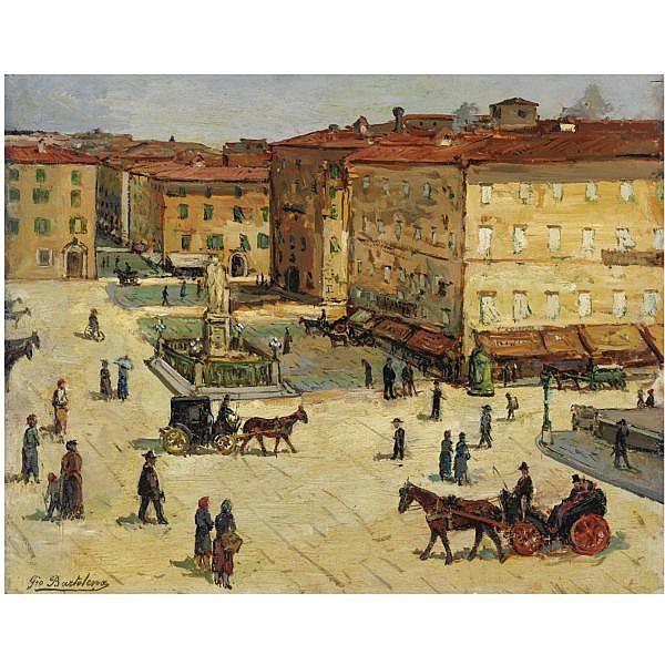 - Giovanni Bartolena , (Livorno 1866 - 1942) Piazza Cavour a Livorno   olio su tavola