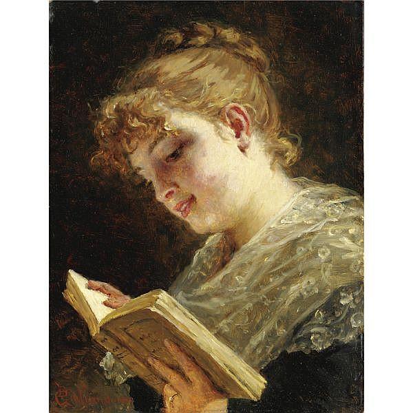 Bartolomeo Giuliano , (Susa 1825 - Milano 1909)   La lettura olio su tavola
