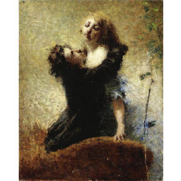 Giuseppe Barbaglia , (Milano 1841 - Vedano al Lambro 1910) l'edera olio su tela