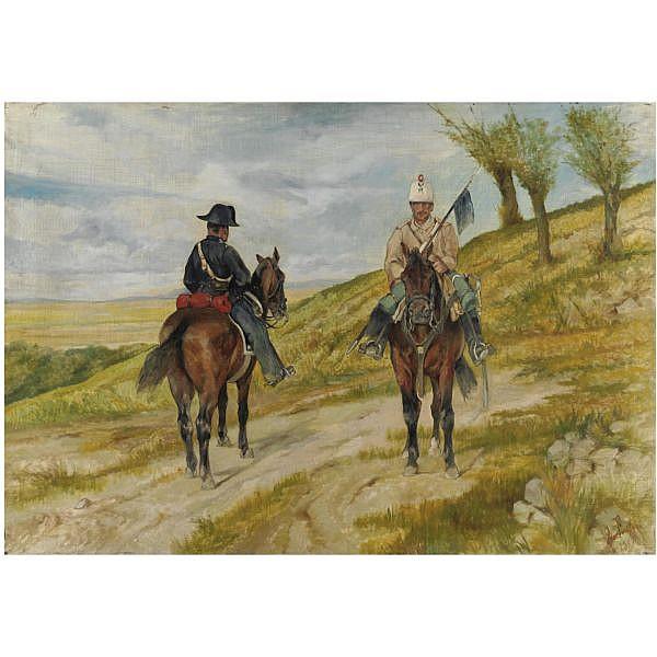 Giovanni Fattori , (Livorno 1825 - 1908) Cavalleggero e carabiniere a cavallo olio su tela