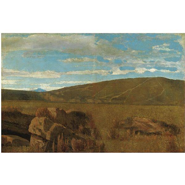Giuseppe Abbati , (Napoli 1836 - Firenze 1868) vallata a castiglioncello olio su tela