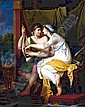 ADELE ROMANEE CALLED ROMANY 1769 - 1846 PARIS YOUNG LOVERS PLAYING THE LYRE measurements note 81.3 by 65 cm.; 32 by 25.5 in. signed and dated lower right: Adele. de Romanee/ 1802 oil on canvas, unframed PROVENANCE Anonymous sale, Paris, Couturier and