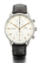 IWC | A STAINLESS STEEL AUTOMATIC CHRONOGRAPH WRISTWATCH WITH REGISTER<br />CASE 3875421 PORTUGUESE CIRCA 2015