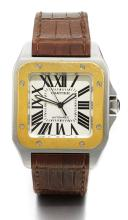 CARTIER | A SQUARE STAINLESS STEEL AND YELLOW GOLD AUTOMATIC CENTRE SECONDS WRISTWATCH REF 2658 CASE 3807000 NO 41/80 SANTOS 100 MADE IN 2004