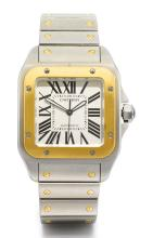 CARTIER | A STAINLESS STEEL AND YELLOW GOLD SQUARE AUTOMATIC CENTRE SECONDS WRISTWATCH WITH BRACELET<br />SANTOS 100 CIRCA 2005<br /><br />
