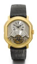 DANIEL ROTH | RETAILED BY ASPREY: A YELLOW GOLD OVAL DOUBLE DIALLEDTOURBILLON WRISTWATCH WITH DATE AND POWER RESERVE <br />NO 10TOURBILLON-REGULATEUR DANIEL ROTH FOR ASPREYCIRCA 1990