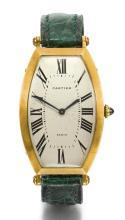 CARTIER | A YELLOW GOLD TONNEAU-FORM CURVED WRISTWATCH<br />CASE A107318 TONNEAU CIRCA 1995