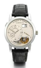 A. LANGE & SÖHNE | A FINE AND RARE LIMITED EDITION PLATINUM TOURBILLON WRISTWATCH WITH DATE AND POWER RESERVE INDICATION <br />NO 92/150 LANGE 1 TOURBILLON CIRCA 2002