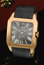 CARTIER | A PINK GOLD SQUARE WRISTWATCH WITH POWER RESERVE AND DATE<br />REF 3596 CASE 140840SX SANTOS DUMONT 2010
