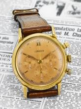 LEMANIA | A YELLOW GOLD CHRONOGRAPHWRISTWATCH WITHREGISTERS <br />MVT 12565 CASE19652 CIRCA 1946