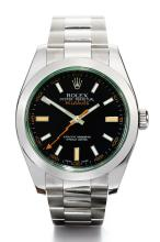 ROLEX | A STAINLESS STEEL AUTOMATICCENTRE SECONDS WRISTWATCH WITH BRACELET AND GREEN SAPPHIRE CRYSTAL<br /> REF 116400GV CASE G239698 MILGAUSSCIRCA 2010