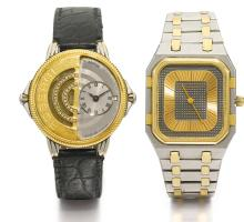 AUDEMARS PIGUET, ROBERGÉ | A WHITE AND YELLOW GOLD DIAMOND-SET DUAL-TIME WRISTWATCH NO 244 AND A YELLOW GOLD AND STAINLESS STEEL OCTAGONAL WRISTWATCH NO 35057 CIRCA 1990