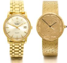 CORUM, MOVADO | A YELLOW GOLD COIN BRACELET WATCH AND AYELLOW GOLD CENTRE SECONDS WRISTWATCH WITH DATE AND BRACELET RETAILED BY CARTIER<br />NO 163290 AND 19760 CIRCA 1980