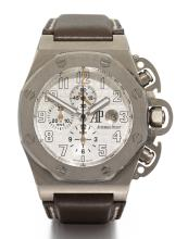AUDEMARS PIGUET | A LIMITED EDITION OVERSIZED TITANIUM AUTOMATIC CHRONOGRAPH WRISTWATCH WITH REGISTERS AND DATE <br />CASE F00463 ROYAL OAK OFFSHORE T3 TERMINATOR CIRCA 2005