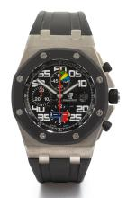 AUDEMARS PIGUET | A LIMITED EDITION TITANIUM AND RUBBER AUTOMATIC CHRONOGRAPH WRISTWATCH WITH REGISTERS AND DATE<br />NO 054/150 ROYAL OAK OFFSHORE RUBENS BARRICHELLO CIRCA 2005