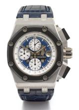 AUDEMARS PIGUET | A LIMITED EDITION PLATINUM AND CERAMIC AUTOMATIC CHRONOGRAPH WRISTWATCH WITH REGISTERS AND DATE<br />NO 088/150 ROYAL OAK OFFSHORE RUBENS BARRICHELLO CIRCA 2012