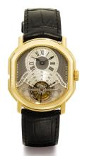 DANIEL ROTH | A FINE AND RARE 18K YELLOW GOLD OVAL DOUBLE DIALLEDTOURBILLON WRISTWATCH WITH DATE AND POWER RESERVE <br />NO 230 TOURBILLON-REGULATEUR CIRCA 1990
