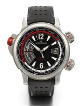 JAEGER-LECOULTRE | A LARGE STAINLESS STEEL WORLD TIME WRISTWATCH WITH ALARM AND DATE <br />REF 150.8.42 MASTER COMPRESSOR EXTREME W-ALARM CIRCA 2010