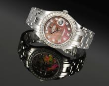 ROLEX | APLATINUM AND DIAMOND-SET AUTOMATIC CENTRE SECONDS WRISTWATCH WITH MOTHER-OF-PEARL DIAL, DAY, DATE AND BRACELET <br />REF 18946 NOP198281 DAY-DATE MASTERPIECE CIRCA 2000