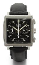 TAG HEUER | A STAINLESS STEEL RECTANGULAR AUTOMATIC CHRONOGRAPH WRISTWATCH WITH REGISTERS AND DATE<br />REF CS2111 CASE HA4613 MONACO CIRCA 2000