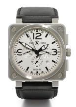 BELL & ROSS | A SQUARE STAINLESS STEEL AUTOMATIC CHRONOGRAPH WRISTWATCH WITH REGISTERS AND DATE<br />REF BR01-94 CASE S-01191 CIRCA 2010