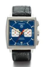 TAG HEUER | A STAINLESS STEEL RECTANGULAR AUTOMATIC CHRONOGRAPH WRISTWATCH WITH REGISTER AND DATE<br />REF CW2113 CASE HJ4914 MONACO CIRCA 2005