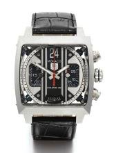 TAG HEUER | A STAINLESS STEEL RECTANGULAR AUTOMATIC CHRONOGRAPH WRISTWATCH WITH REGISTER AND DATE<br />REF CAL5111 NO 319888 MONACO TWENTY FOUR CIRCA 2012