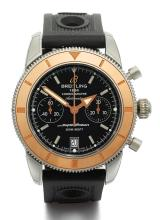 BREITLING | A STAINLESS STEEL AND PINK GOLD AUTOMATIC CHRONOGRAPH WRISTWATCH WITH REGISTER AND DATE<br />REF U23370 CASE 2428924 SUPER OCEAN IRCA 2010