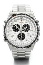 BREITLING | A STAINLESS STEEL CHRONOGRAPH WRISTWATCH WITH REGISTERS, DATE AND BRACELET<br />REF A59028 CASE 34670 JUPITER PILOT CIRCA 1995