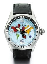 CORUM | A STAINLESS STEEL AUTOMATIC DUAL TIME ZONE WRISTWATCH WITH DATE <br />REF 383.150.20 CASE 738843 BUBBLE WORLD MAP GMT CIRCA 2000