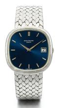 PATEK PHILIPPE | A WHITE GOLD AUTOMATIC CUSHION-FORM BRACELET WATCH WITH DATE<br />REF 3604MVT 1303352 CASE 2763052 GOLDEN CIRCLE MADE IN 1976