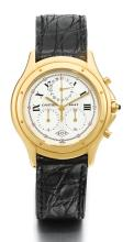 CARTIER | A LIMITED EDITION YELLOW GOLD CHRONOGRAPH WATCH WITH DATE AND REGISTERS<br />REF 11621 CASE 60143 TO COMMEMORATE THE ANNIVERSARY OF THE BRAND COUGAR CHRONOFLEX CIRCA 1997
