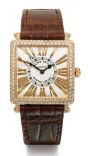 FRANCK MULLER | A PINK GOLD AND DIAMOND-SET SQUARE-FORM WRISTWATCH <br />REF 6002 NO 163 MASTER SQUARE CIRCA 2005