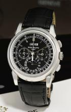 PATEK PHILIPPE | A RARE AND IMPORTANTPLATINUM PERPETUAL CALENDAR CHRONOGRAPH WRISTWATCH WITH REGISTER, MOON-PHASES AND LEAP YEAR INDICATION <br />REF 5970P MVT 3931577 CASE 4490849 CIRCA 2010
