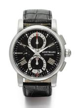 MONTBLANC | A STAINLESS STEEL AUTOMATIC CHRONOGRAPH WRISTWATCH WITH REGISTERS AND DATE<br />REF 7104 CASE PL655772 MEISTERSTUCK CIRCA 2010