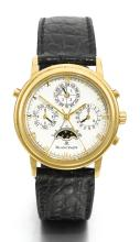 BLANCPAIN | A YELLOW GOLD PERPETUAL CALENDAR WRISTWATCH WITH SPLIT-SECONDS CHRONOGRAPH, REGISTERS ANDPHASES OF THE MOON <br />NO 4 CIRCA 2000