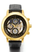 QUINTING | A YELLOW GOLD MYSTERY CHRONOGRAPH WRISTWATCH WITH REGISTERS AND DATE <br />NO 082 CIRCA 2000