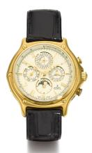 EBEL | AN YELLOW GOLD AUTOMATIC PERPETUAL CALENDAR CHRONOGRAPH WRISTWATCH WITH REGISTERS AND MOON-PHASES<br />REF 8136901 CASE 64103934 1911 CIRCA 1990