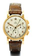 OMEGA | A PINK GOLD CHRONOGRAPH WRISTWATCH WITH REGISTERS<br />CASE 10875737 CIRCA 1949