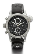 ORIS | A STAINLESS STEEL AUTOMATIC CHRONOGRAPH AND DUAL TIME ZONE WRISTWATCH WITH REGISTERS AND DATE<br />REF 67475834084 NO 2815/4118 FLIGHT TIMER R4118 CIRCA 2010